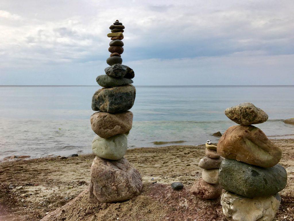 Stein Kunst am Strand von Rerik